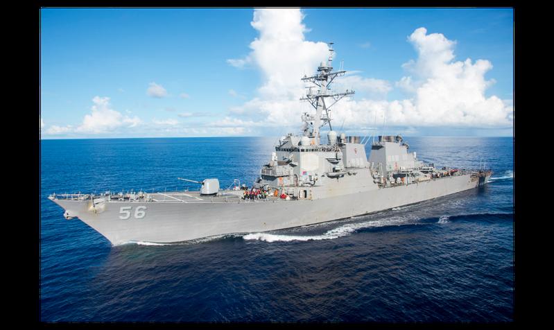 圖為美國飛彈驅逐艦馬侃號資料照。歐新社
