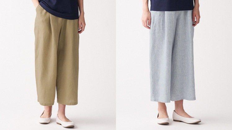 第10名,女法國亞麻寬擺褲,1,390元。圖/無印良品提供
