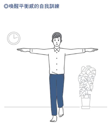 喚醒平衡感的自我訓練。圖/摘自《好好變老》