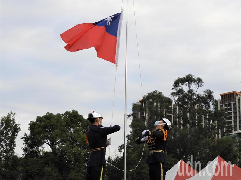 2021桃園元旦升旗典禮今早在楊梅區四維公園舉辦。記者高宇震/攝影