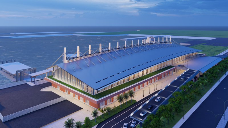 金門水頭港大型旅客服務中心新建工程最新示意圖。圖/金門縣港務處提供