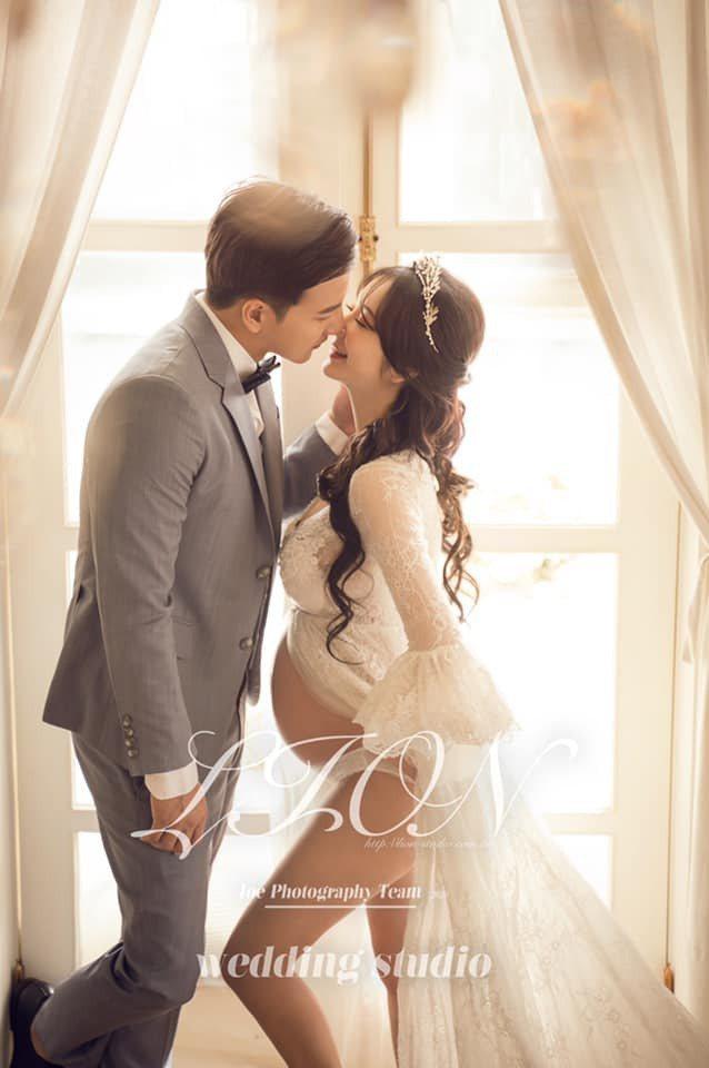 楊奇煜與辣妻公開孕婦婚紗寫真。圖/摘自小煜臉書