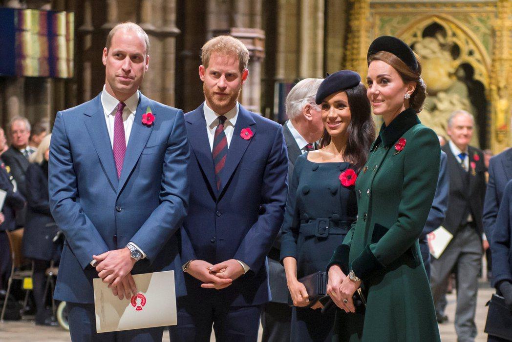 威廉(左起)、哈利、梅根、凱特今年可能會有不只一次同台碰面的機會。圖/路透資料照