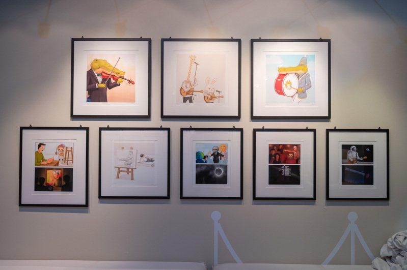 日本人氣插畫家Keigo,首度在台灣推出展覽,作品角色充滿幽默正面力量,在IG擁有百萬粉絲。圖/寬宏藝術提供