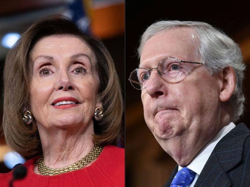 美國眾院議長波洛西(左)和參院共和黨領袖麥康諾(右)的住宅遭人塗鴉汙損。(法新社)