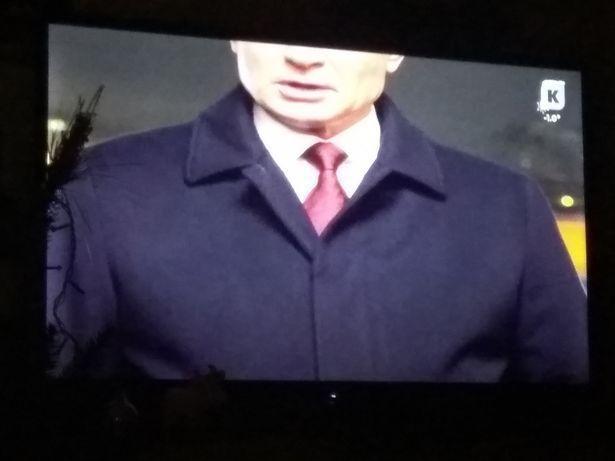 普亭新年演說,在地方電視台的畫面只顯示普亭眼睛以下部分。 圖/取自mirror