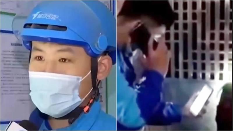 廣東廣州市外賣員馬煜淞近日送餐時,發現屋內有老婦倒地昏迷,但他一直破門無果,只能等待消防到場。 圖/看看新聞