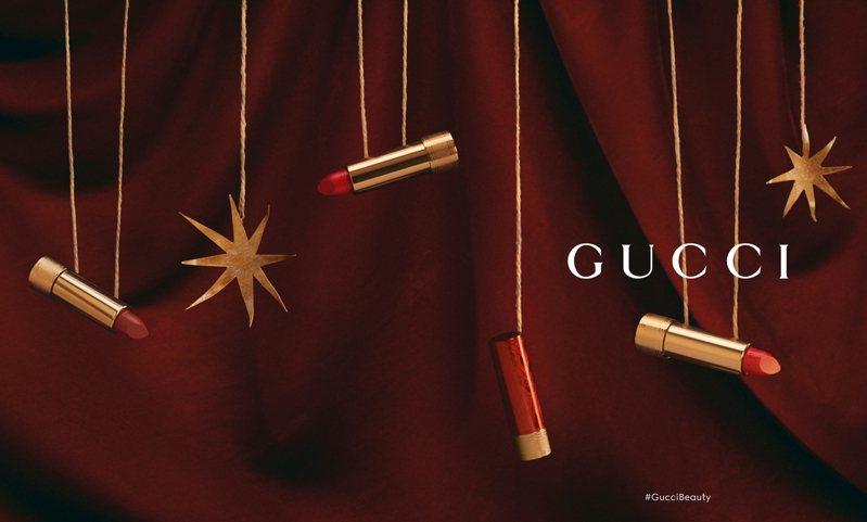 Gucci彩妝Rouge à Lèvres Satin 絲緞唇膏系列特別推出農曆新年限量版的新品唇膏,換上紅色新衣的唇膏管身熱情又性感。圖/Gucci提供