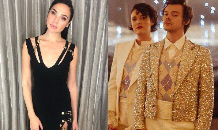 蓋兒加朵、哈利史泰爾斯分別穿上Versace、Gucci為他們量身打造的服裝。圖...