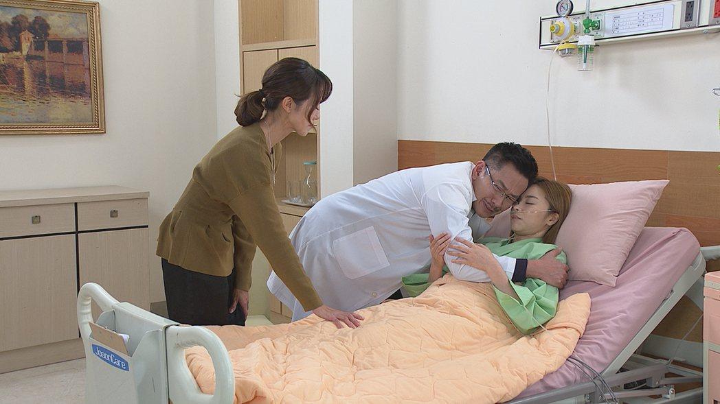 黃瑄(左起)、江俊翰、王瞳一家人相認場面催淚。圖/民視提供