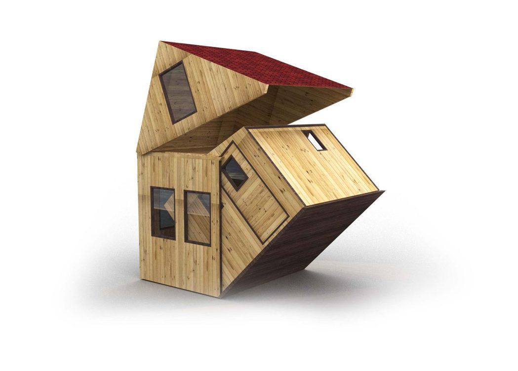 brette haus的微型小屋,可以收納折疊後,由卡車移動。圖/摘自brett...