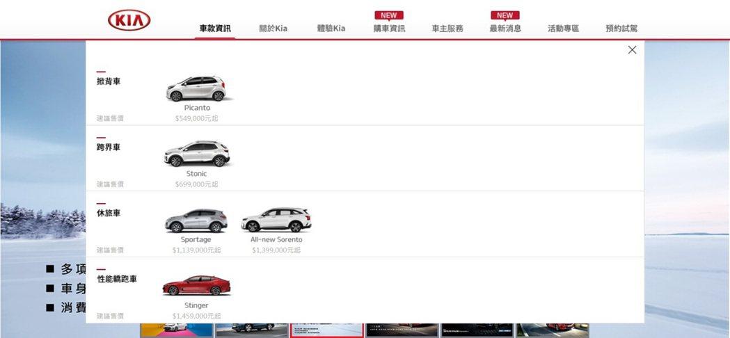 台灣森那美起亞官網中的車型一覽在2021年起正式下架Kia Carens。 圖/...
