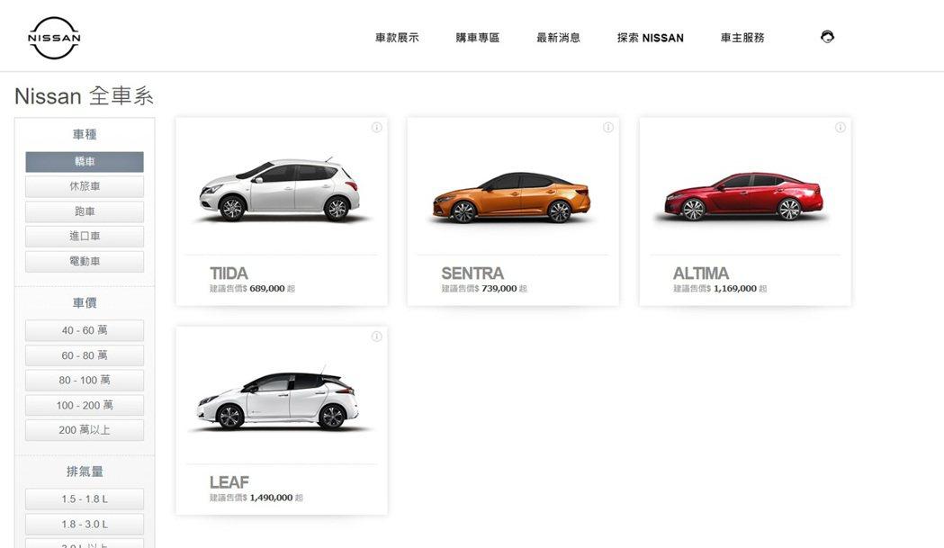 裕隆日產官網的車款一覽表已看不見Nissan Livina。 圖/截自裕隆日產官...