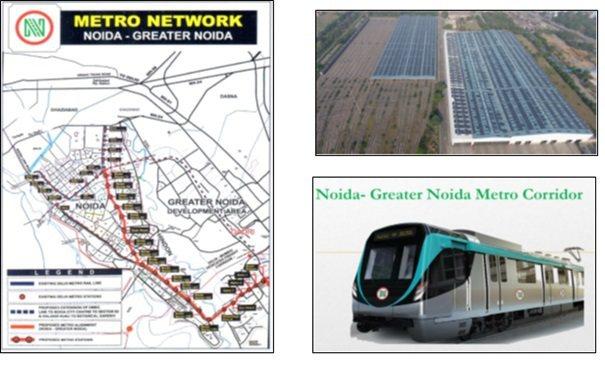 Noida Metro Network路線圖、捷運車輛與車輛維修機廠實景。 資料...