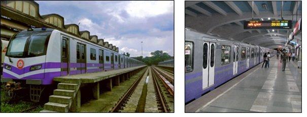 Kolkata Metro 捷運車輛與車站實景。 資料來源: https://e...