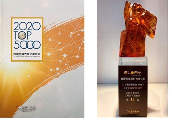 中華徵信所調查機構評選109年度工商服務企業排行2020 TOP 5000「...