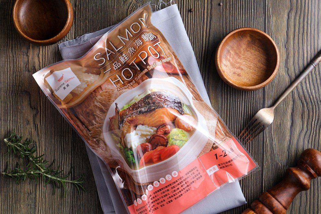 「美威一品鮭魚海鮮鍋」全聯福利中心特價279元/包。 美威鮭魚/提供