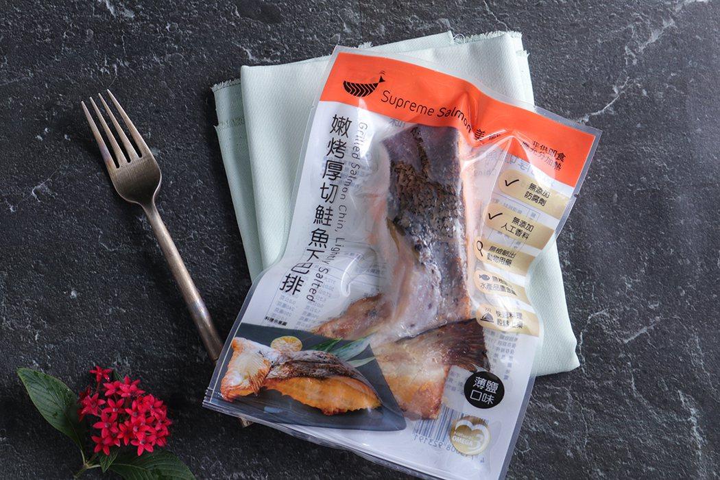 「美威精選厚切下巴排」全聯福利中心特價109元/包。 美威鮭魚/提供