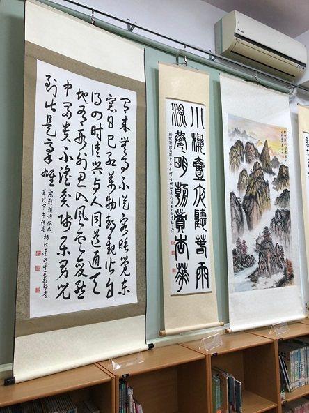 連水生老師墨寶得獎作品 宋程顥的詩「偶成」(左一)。 餉潭國小/提供