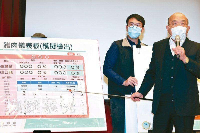 行政院長蘇貞昌(右)昨天上午前往台北港視察進口豬肉「逐批查驗」作業,並表示政府已設置「豬肉儀表板 」,每天揭露國產和進口豬肉資訊。記者蘇健忠/攝影