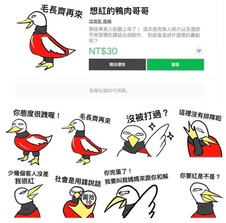 初版「想紅的鴨肉哥哥」貼圖。圖/摘自沈培安臉書
