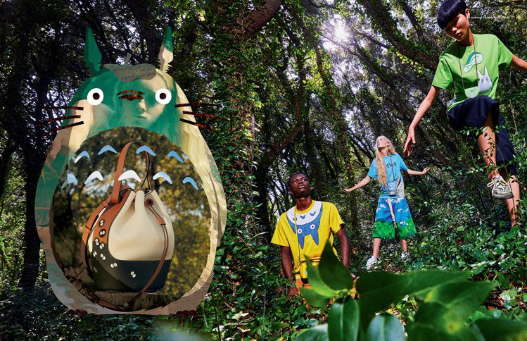 Balloon灰塵精靈帆布拼接小牛皮肩背提包,95,000元。圖/LOEWE提供