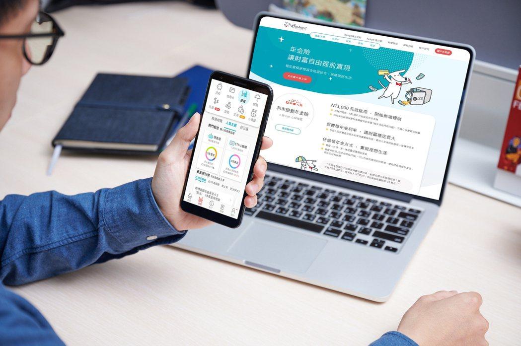 台新銀行旗下的數位帳戶Richart,今宣布推出ETF連結基金與年金險,且提供低...