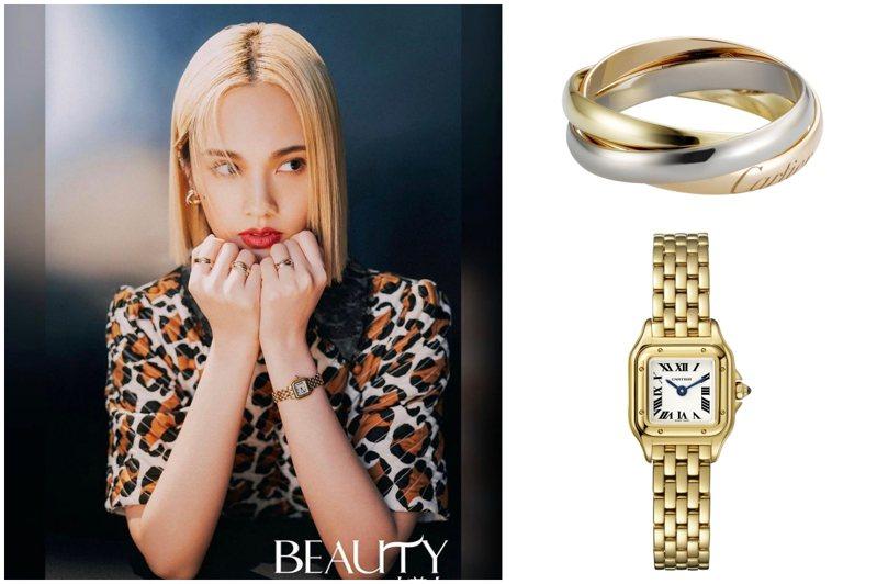 楊丞琳配戴卡地亞珠寶腕表拍攝時尚雜誌大片。圖/取自楊丞琳官方IG、卡地亞提供