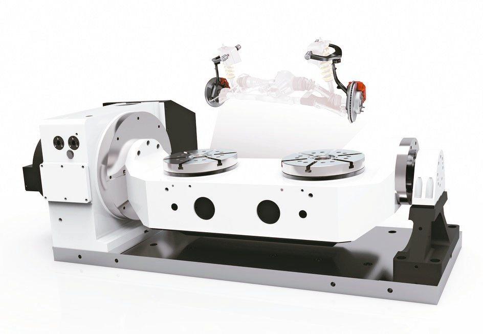 雙盤面五軸旋轉分度盤具五面加工及對稱加工能力。和昕/提供