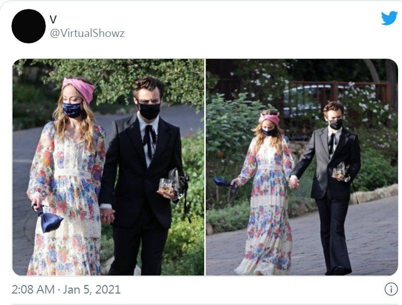 哈利與奧莉薇亞懷德被拍到手牽手出席婚禮。圖/摘自twitter