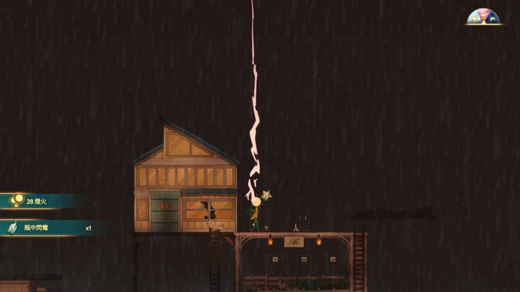 接閃電很刺激,主角沒有血量也不會死,有時候貓也會幫忙接,但牠被電到的動畫很可憐