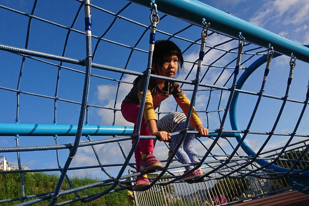 台灣第一座堪稱媲美沖繩的跨坡管狀攀爬繩網,孩子走在其中時,都覺得自己是爬山涉水的百岳高手。 圖/聯經出版提供