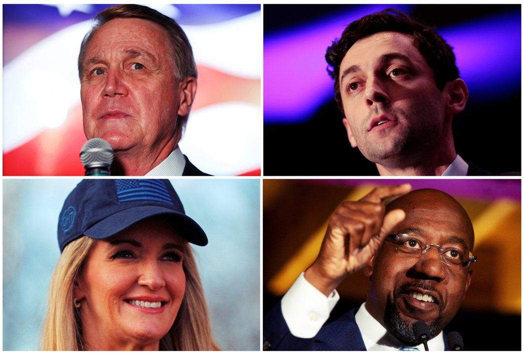 喬治亞州兩黨參議員對決,左為共和黨的現任珀杜(David Perdue,左上)、...