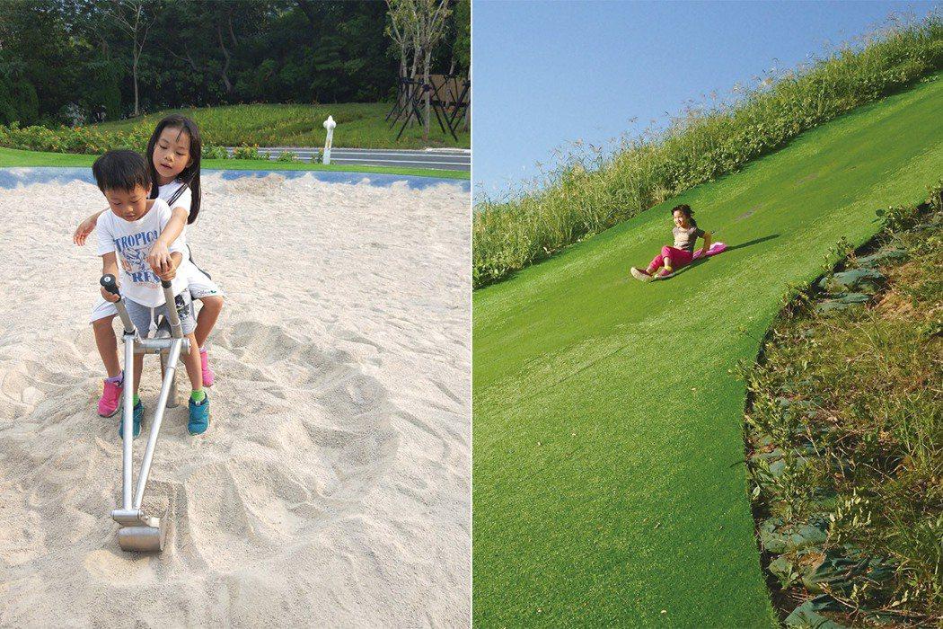 圖左,放置了玩沙機具的沙坑。圖右,孩子從又高又陡的草坡溜下來。 圖/聯經出版提供