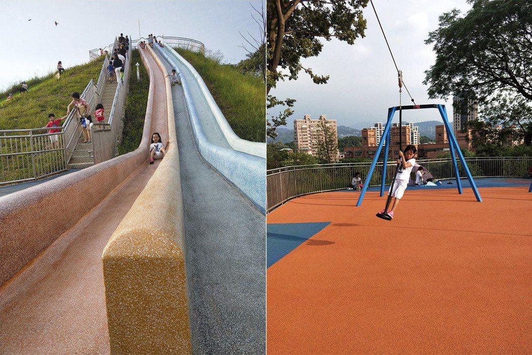 圖左,超長、超陡、超滑溜,而且視野最好的磨石滑梯。圖右,孩子可依照自己的程度,調整站或坐姿。 圖/聯經出版提供
