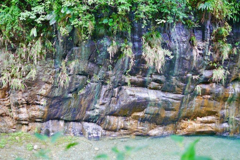 砂卡礑溪,溪旁宛若「藝術抽象畫」的岩石面。
