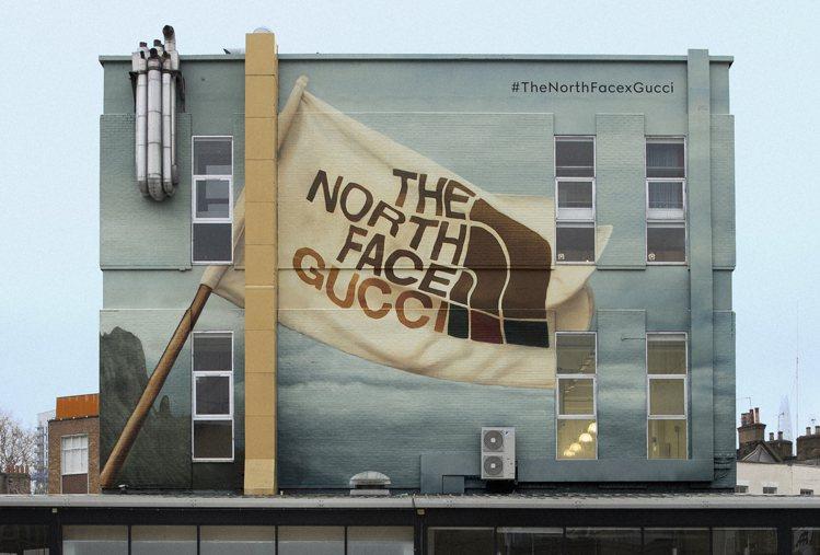 換上The North Face x Gucci聯名系列主題的倫敦Gucci A...