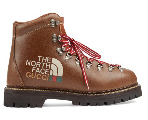 The North Face x Gucci聯名棕色皮革登山靴(男),49,20...