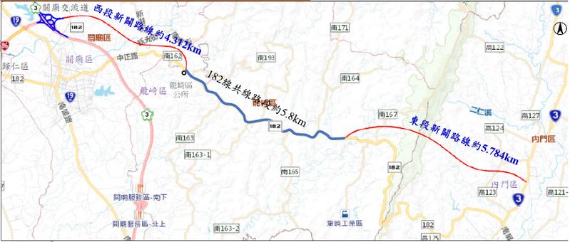 台南來往旗山的182線山區道路將「截彎取直」,政府要投入100億元新闢銜接182線東西兩段道路,共約10公里。圖/台南市工務局提供