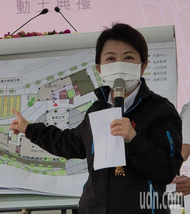 台中市長盧秀燕今天指出,基於秋冬防疫考量,市府主辦的年貨大節就要求不可以脫下口罩,也沒有試吃的活動。記者黃寅/攝影