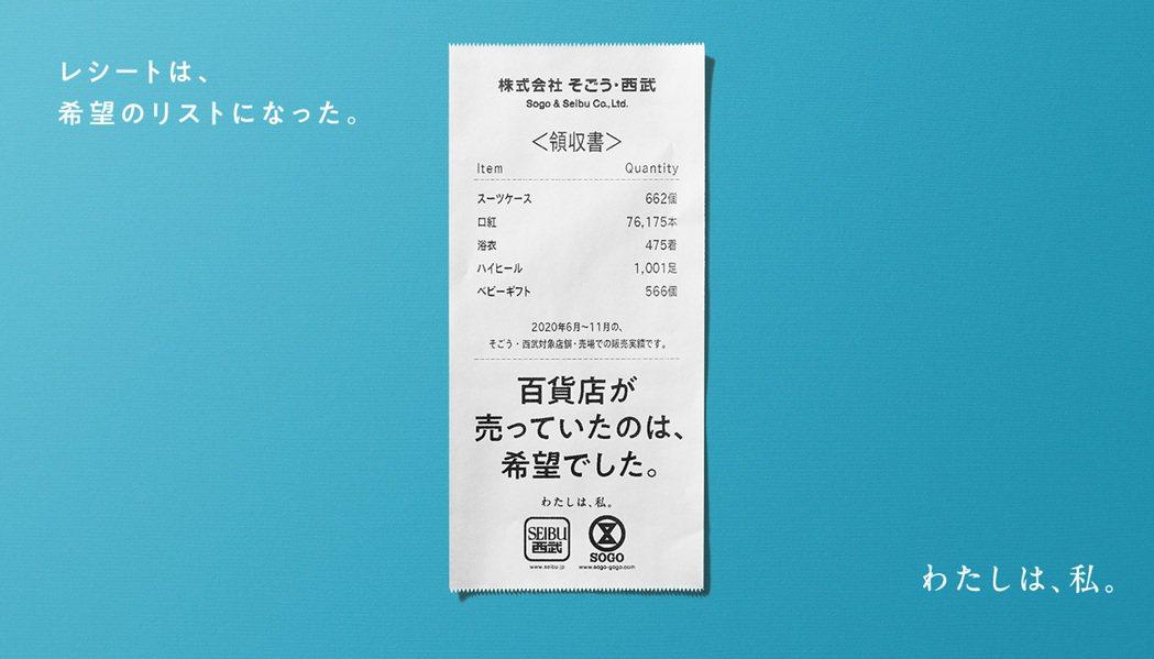 日本西武百貨的新年廣告以「收據」為主題。圖/摘自西武百貨網站