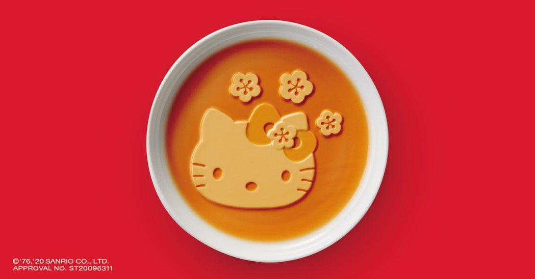 Hello Kitty立體造型盤,可隨著醬汁浮出漸層顏色。業者/提供
