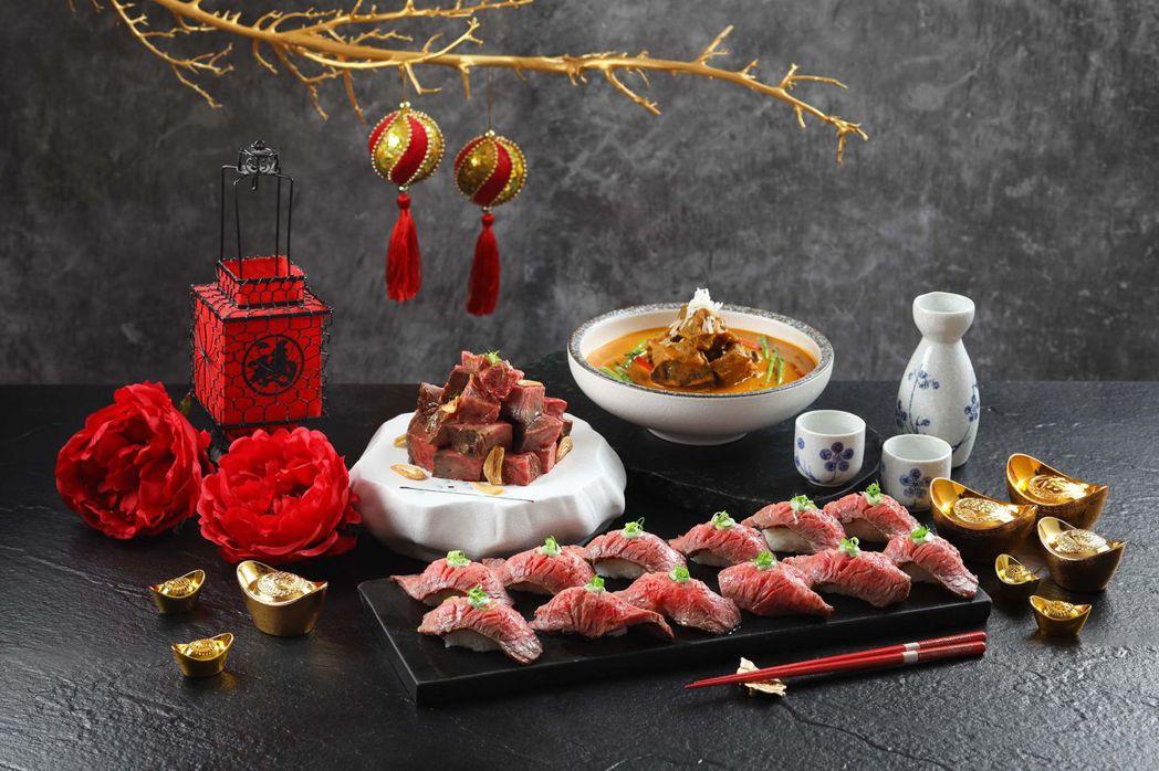 牛肉三重奏包含頂級日本A5和牛握壽司(前)、(後左至右)拉美菲力骰子牛、美國極黑...