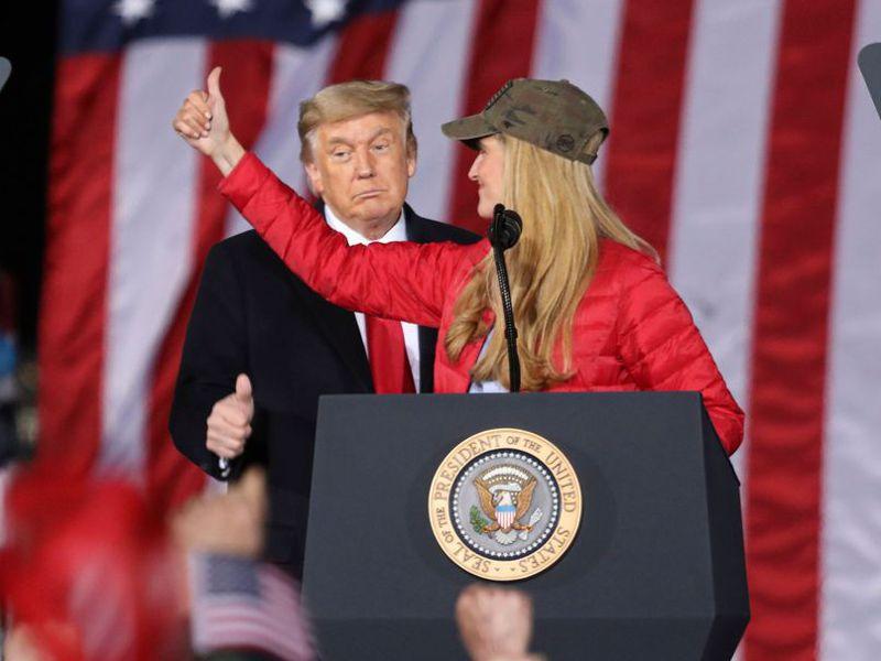 美國總統川普赴喬州為羅夫勒站台。(法新社)