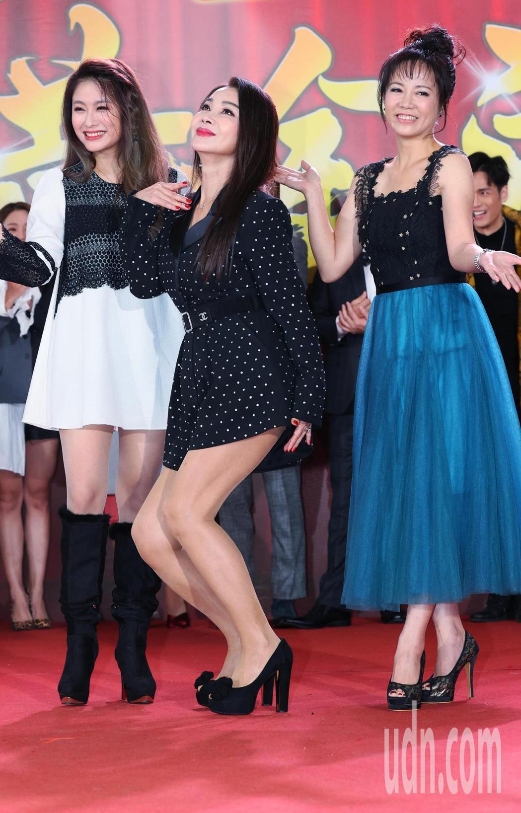 陳仙梅(右起)、陳美鳳、葉家妤將於新戲「黃金歲月」中重現80年代秀場風光。記者陳