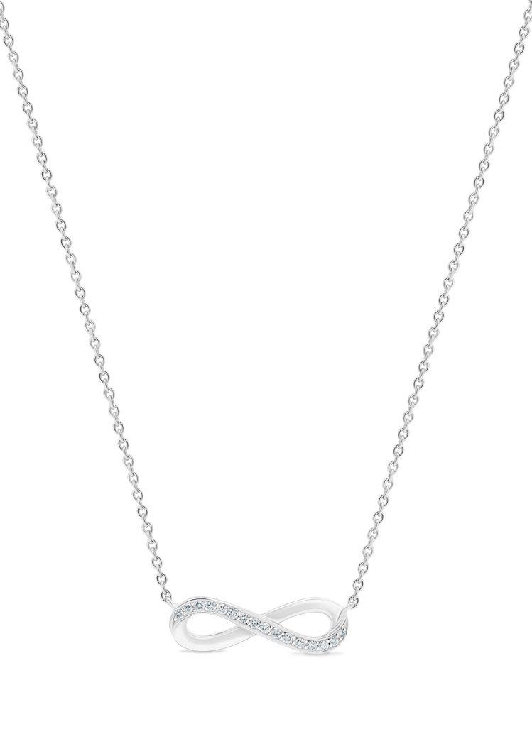 Infinity 18K白金鑽石吊墜項鍊,鑽石總重約0.06克拉,50,000元...