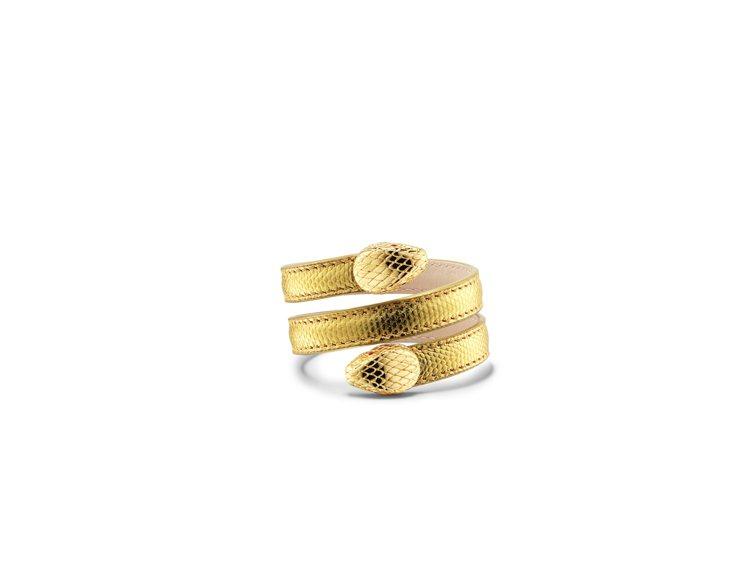 BVLGARI Serpenti Forever金色金屬水蛇皮多圈手環,17,8...