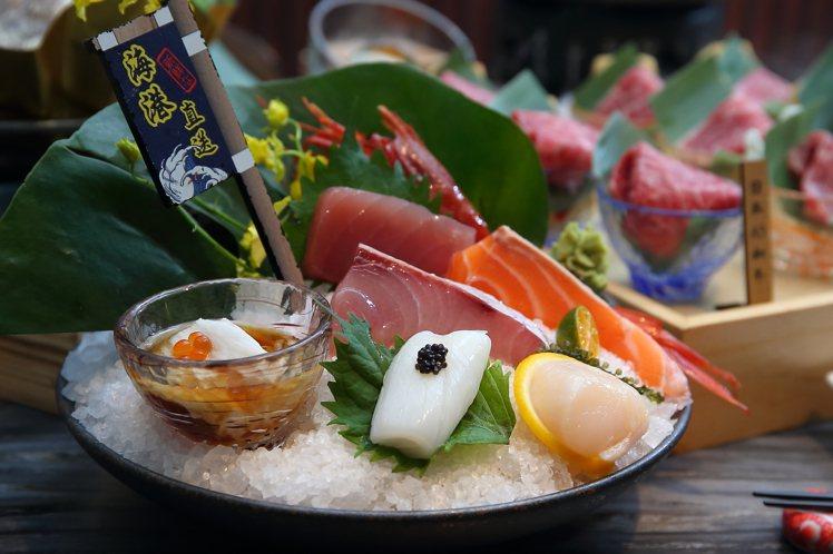 新推出的「極上套餐」,將刺身從3品升級為7品。記者陳睿中/攝影