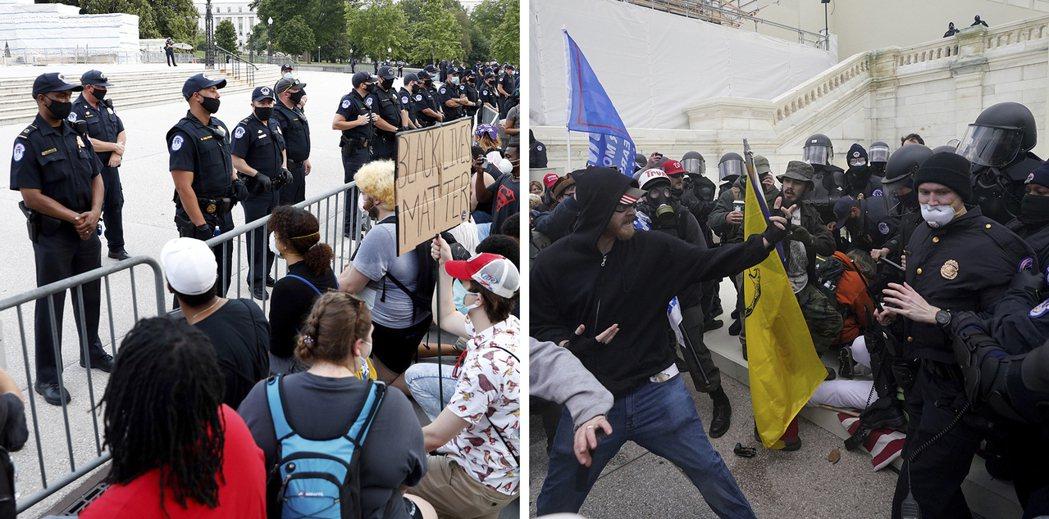 媒體指國民兵去前為防範BLM運動提前大舉進駐、有關單位也強硬積極執法,主力為白人...