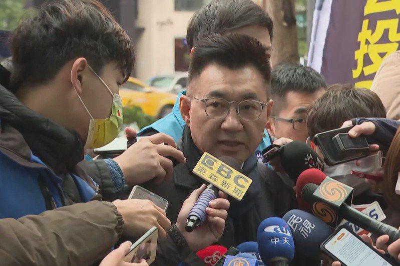國民黨主席江啟臣接受聯訪。記者顏凱勗/攝影